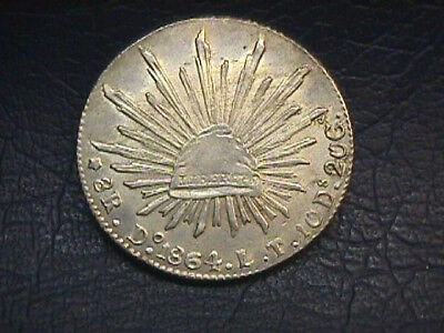 MEXICO 1864 Do LT SILVER 8 REAL COIN. KM#377.3. FREE SHIPPING.