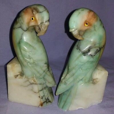 Antique 19Th Century Hand Carved Marble Parrot Bookends With Glass Eyes