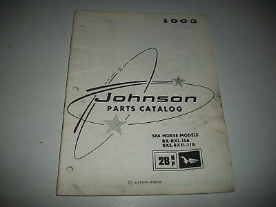 1963 Johnson 28 Hp Outboard Sea Horse Parts List Catalog Rx-Rxl-11A Rxe-Rxel-11A