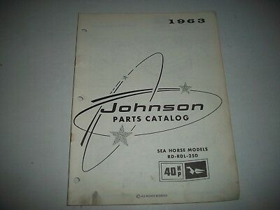 1963 Johnson 40 Hp Outboard Sea Horse Parts List Catalog Rd-Rdl-25D