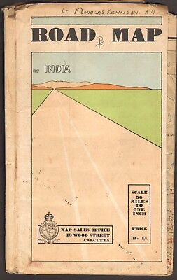 Road Map of India, 1939,  well used