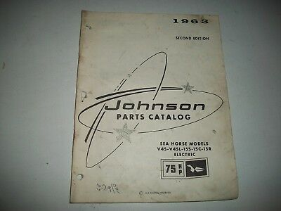 1963 Johnson 75 Hp Electric  Outboard Sea Horse Parts List V4S-V4Sl-155-15C-15R