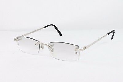 6a974b3b88 Cartier Platinum Rimless Sunglasses T8100573 Grey Lens Authentic France New
