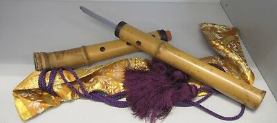 Rare Japanese yari spear hidden in shakuhachi bamboo flute lance Mid 19th ninja