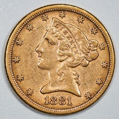 1881 Liberty Head $5 Gold Half Eagle Item#J1994