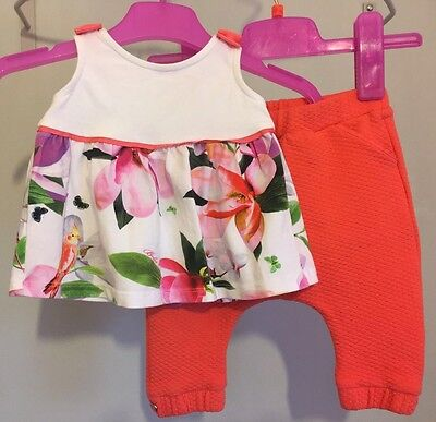 Baby Girls Designer Ted Baker Floral Summer Outfit Top & Bottoms 3-6m 🌺