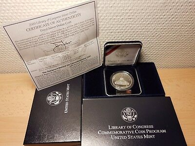 2000 LIBRARY OF CONGRESS 1 DOLLAR 26,73g SILBER SILVER 900er PP/OVP PROOF - P