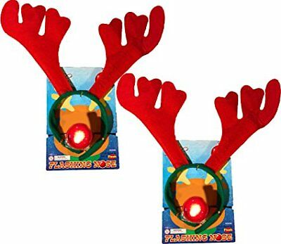 Christmas Holiday Reindeer Antlers Headband w/ Flashing Nose (2 Pack)