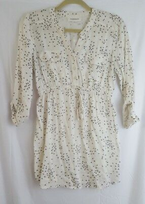 motherhood maternity white floral pattern draw string 3/4 sleevr shirt