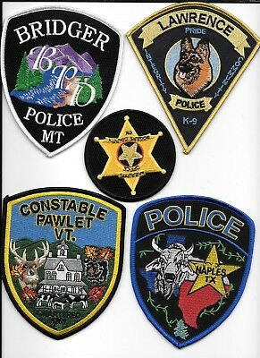 fire Departments 5 Patch Set # 31 shoulder police patch Clearance:  Misc