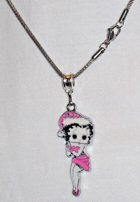 Betty Boop Pink Christmas Charm/Pendant Necklace Stainless Steel Chain