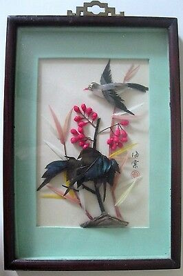 Vintage Chinese 3D Framed Feather Art Bird with Flowers