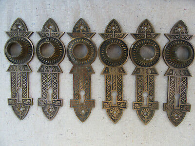 Three Antique Sets Of Solid Brass Door Knob Back Plates