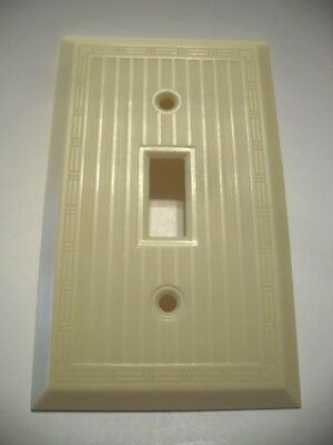 Vtg IVORY Bordered Thin Ribbed Toggle SWITCH Wall Cover Plate Art Deco Hubbell