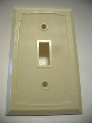 Vintage IVORY Bordered Very Thin Ribbed Toggle SWITCH Wall Cover Plate Art Deco