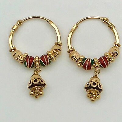22k Solid Gold Indian Hoop Earrings with Enamel Hallmarked 9.4 grams Gorgeous
