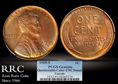 1909-S Lincoln Cent PCGS Genuine UNC Detail, Questionable Color