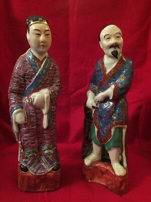"""Antique Famille Rose Statue Figures Pair Woman Bearded Man 9 1/2"""" Tall"""