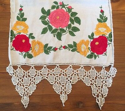 Society Silk Table Runner Flax Linen Crochet Stitch Hemstitched Open Work