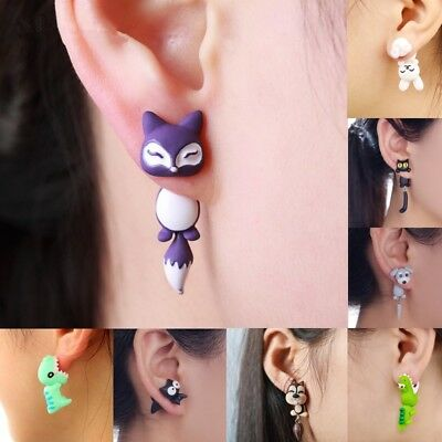 1Pair Womens Clay Soft Jewelry Earrings Cat Fox Dog Creative Pottery New