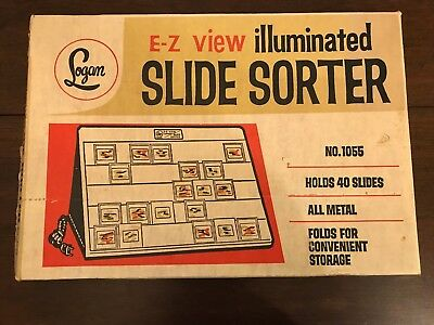 Vintage Logan E-Z View Illuminated Slide Sorter #1055 With Box - Works Lights Up