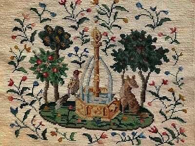 Large antique wool needlepoint tapestry medieval image