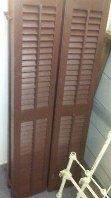 Pair Of Antique Vtg Farm House Barn Window Wood Louvered Shutters