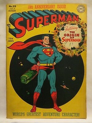 1948 Superman Comic Book..no.53..dc..rare Origin Issue..raw 1 Owner Golden-Age!!