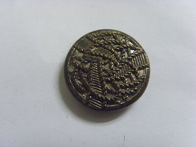 1920s antique filigree cutout metal rope labyrinth style mirrorback button 49220