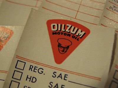 VINTAGE Old Gas Station OILZUM OIL Change Service Stickers NOS - lot of 10 !!!