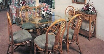 Rattan Dining Chairs - set of 4- Vintage Tropical - Maui Hawaii Bamboo Style