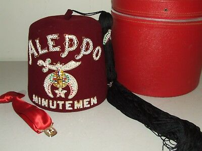 Vintage Shriners Aleppo Minutemen Jewelled Fez Hat & Tie with Case -D. Turin Co.