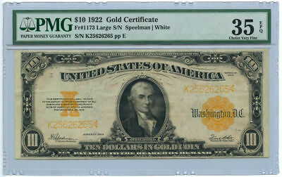 1922 $10 Gold Certificate Large Serial Number PMG Choice VF 35 EPQ Fr #1173