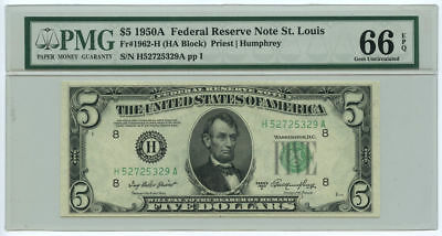 1950A $5 FRN Federal Reserve Note St. Louis, MO PMG Gem UNC 66 EPQ, Great Emb...