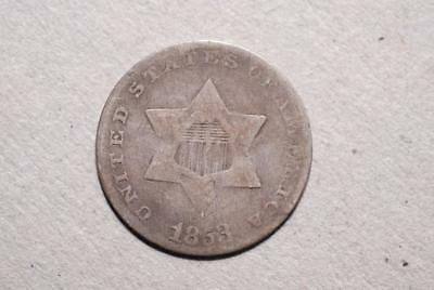 1853 3 Cent Silver Good (85C)