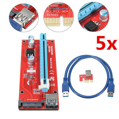 5x PCI Express PCI-E 1x To 16x Adapter Riser Card Extension USB3.0 Powered Cable