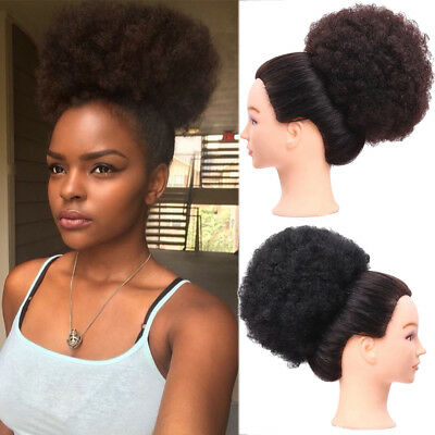"6"" 8"" Afro Ponytail Puff Drawstring Wrap Synthetic Curly Hair Bun Updo Chignon"
