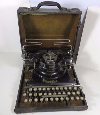 Black PORTABLE HAMMOND MULTIPLEX Antique TYPEWRITER with Original Carrying Case