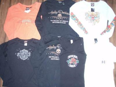Huge Lot of 7 Harley Davidson Womans Small SHIRTS Motorcycle jacket leather