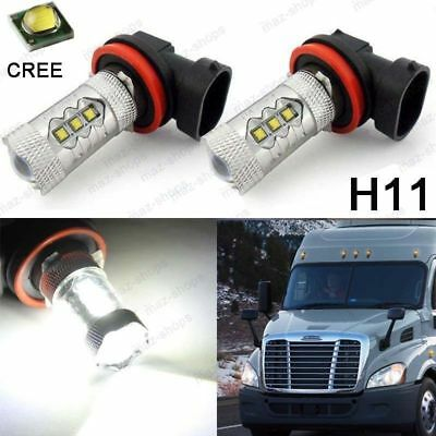 2Pcs White LED H11 Cree 80W Fog Light Bulbs For 2008-2017 Freightliner Cascadia