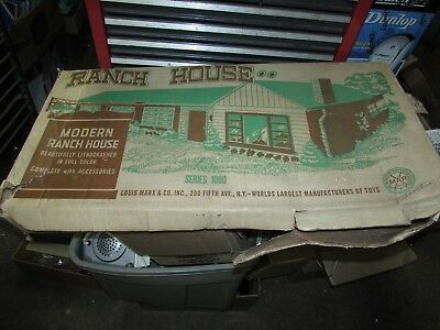 Vintage MARX Large Tin Metal Litho One Story RANCH Doll House WITH BOX from