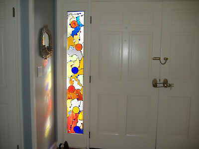 Handmade by Artist Abstract Design Door Sidelight Stained Glass Panel