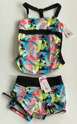 NWT CALIFORNIA KISSES Palm Tree Long Halter Top Shorts Set Outfit Size GIRLS S