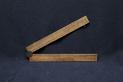Antique 19th Century Wood Folding Sector Ruler