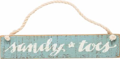 """SANDY TOES Primitives by Kathy Hanging Wood Slat Sign 7 1/2"""" x 1 1/2"""" Rope Cord"""