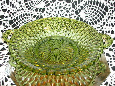 Indiana Green Glass Co. Honeycomb 2 Handled Vintage Antique Serving Candy Dish