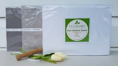 NEW 400TC Organic Bamboo Baby Cot / Crib Bed Sheet Set 3 Piece Set in 3 Colours