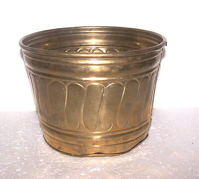 Vintage Solid Brass Planter Pot Round Ornate Bucket Flower Plants India Gift Her