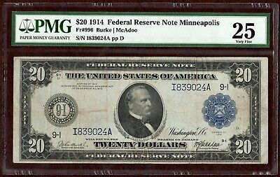 Fr. 996 - 1914 $20 Federal Reserve Note 2 - Burke/McAdoo Sigs - PMG VF25