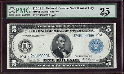 Fr. 942 - 1914 $5 Federal Reserve Note - Burke/Houston Sigs - PMG VF25 STUNNING